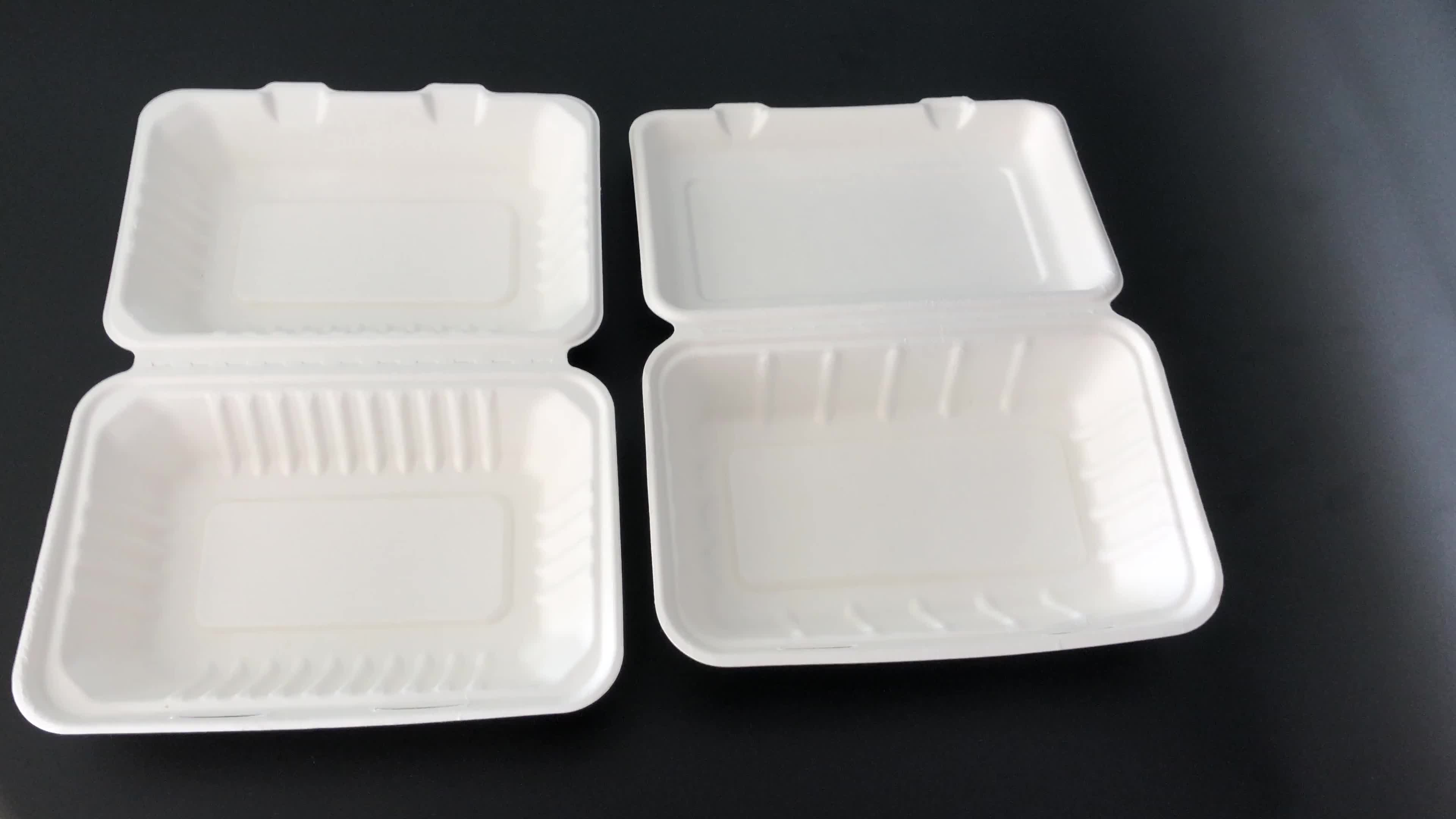 """Eco composteerbaar lunch box verpakking wegwerp biologisch afbreekbaar 9 """"inch 1000ml bagasse voedsel doos voor kinderen"""
