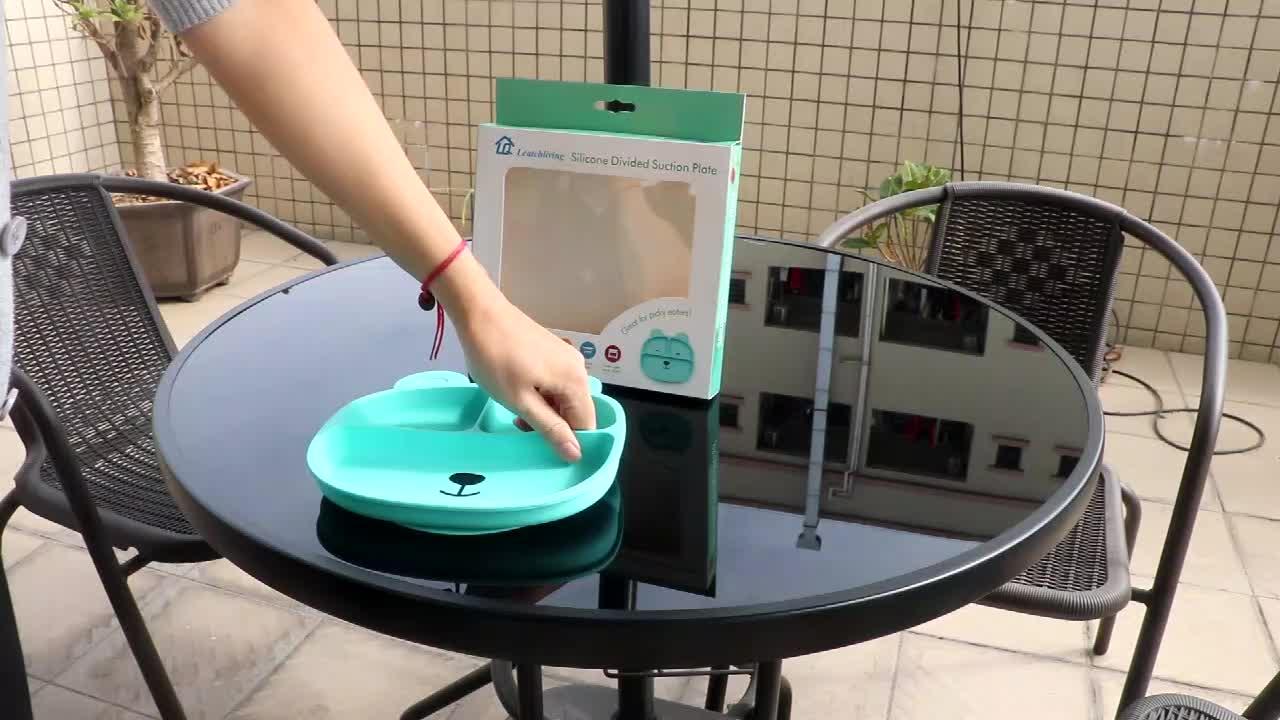 Leatchliving toptan gıda sınıfı 100% silikon kaymaz yıkanabilir silikon bölünmüş yemek tabağı bebek