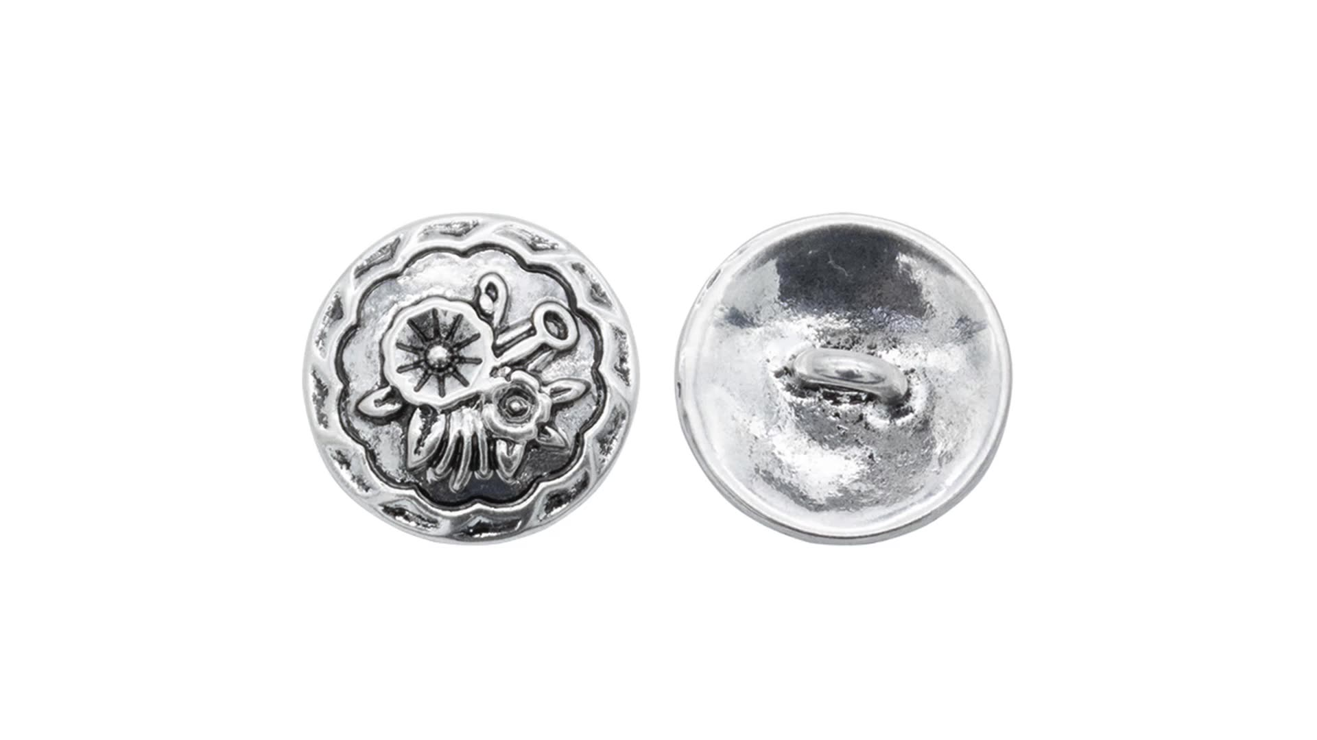 Custom wholesale antique silver 3D flower buttons custom alloy button for cloth