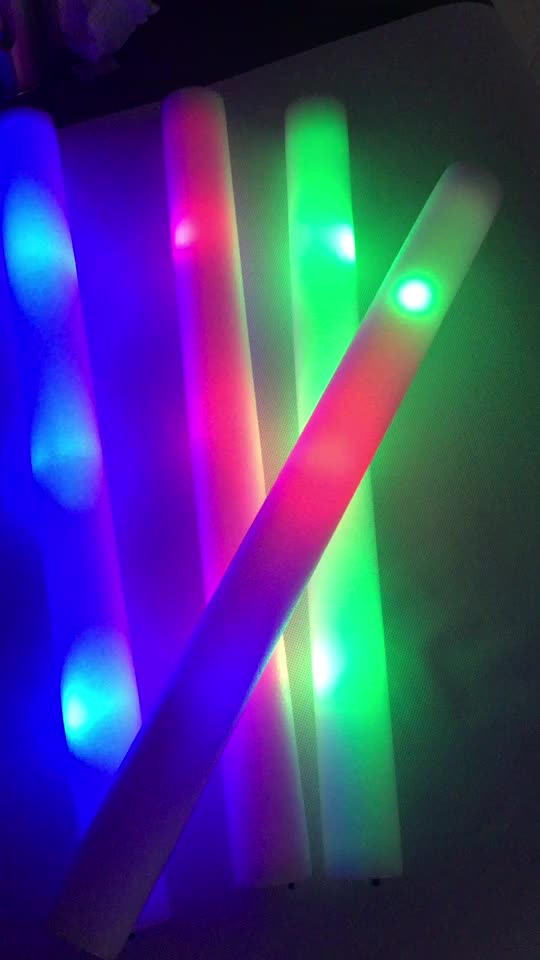2020 customized logo party supplies cheering 18 inch LED glow foam stick for party