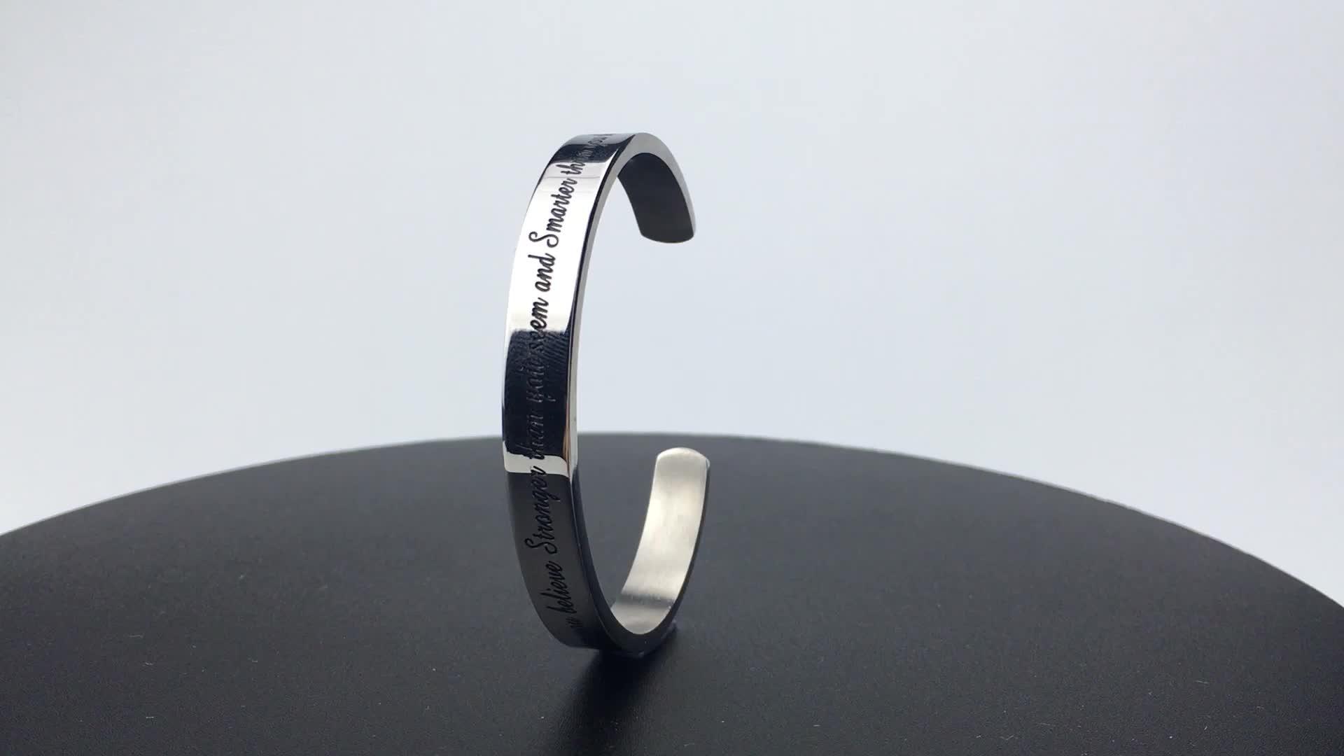4MM 맞춤형 스틸 포지티브 영감 따옴표 새겨진 팔목 팔찌