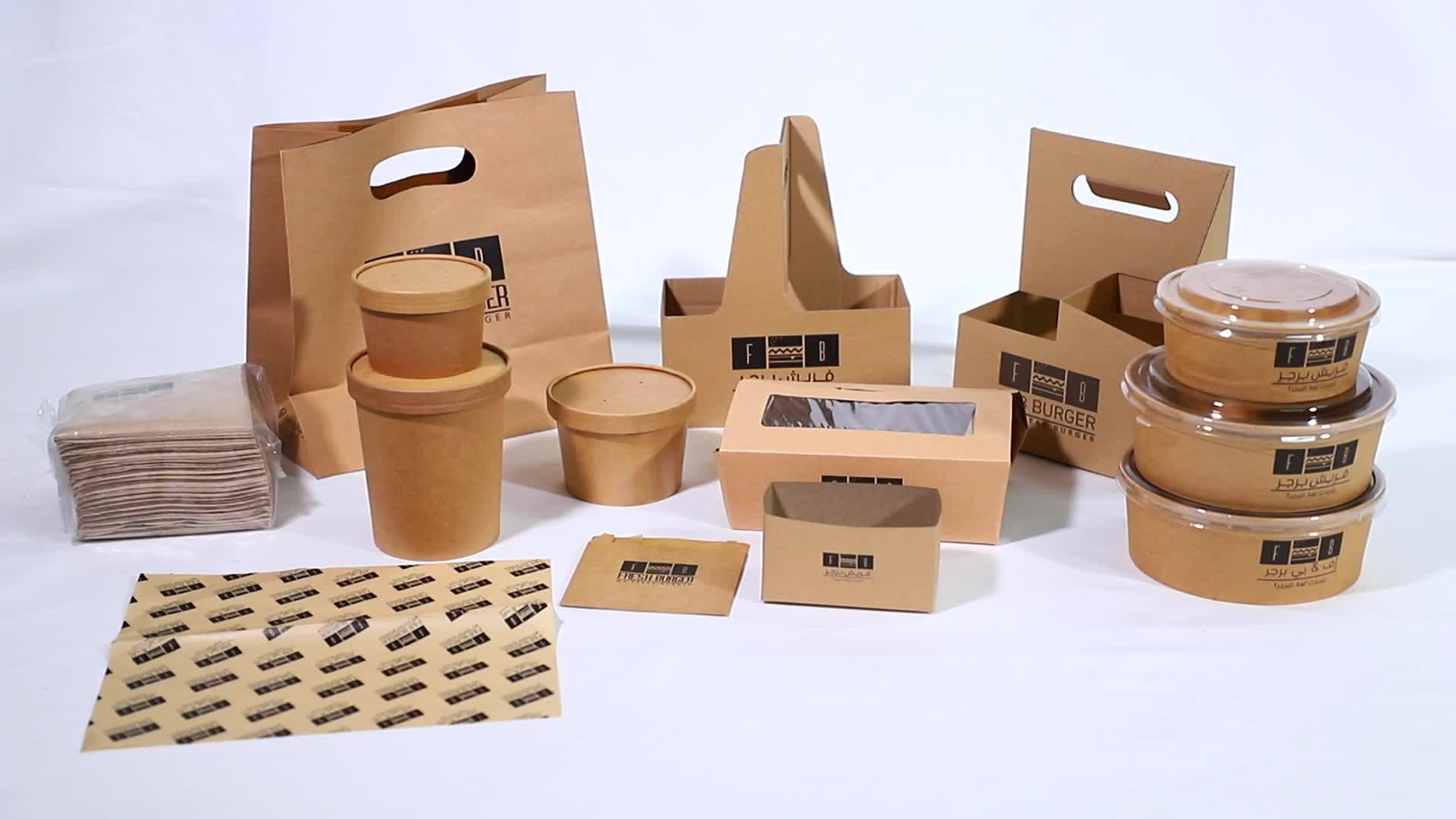 PLA coated hot sale disposable brown paper salad box with logo