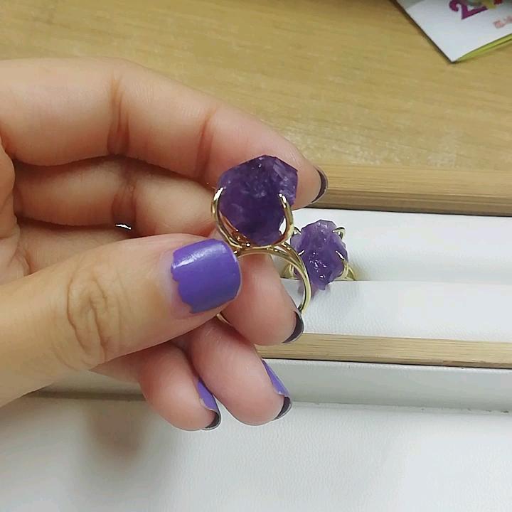 ZG0133 ファッション調節可能な水晶原石カスタムジュエリー女性ゴールドリング