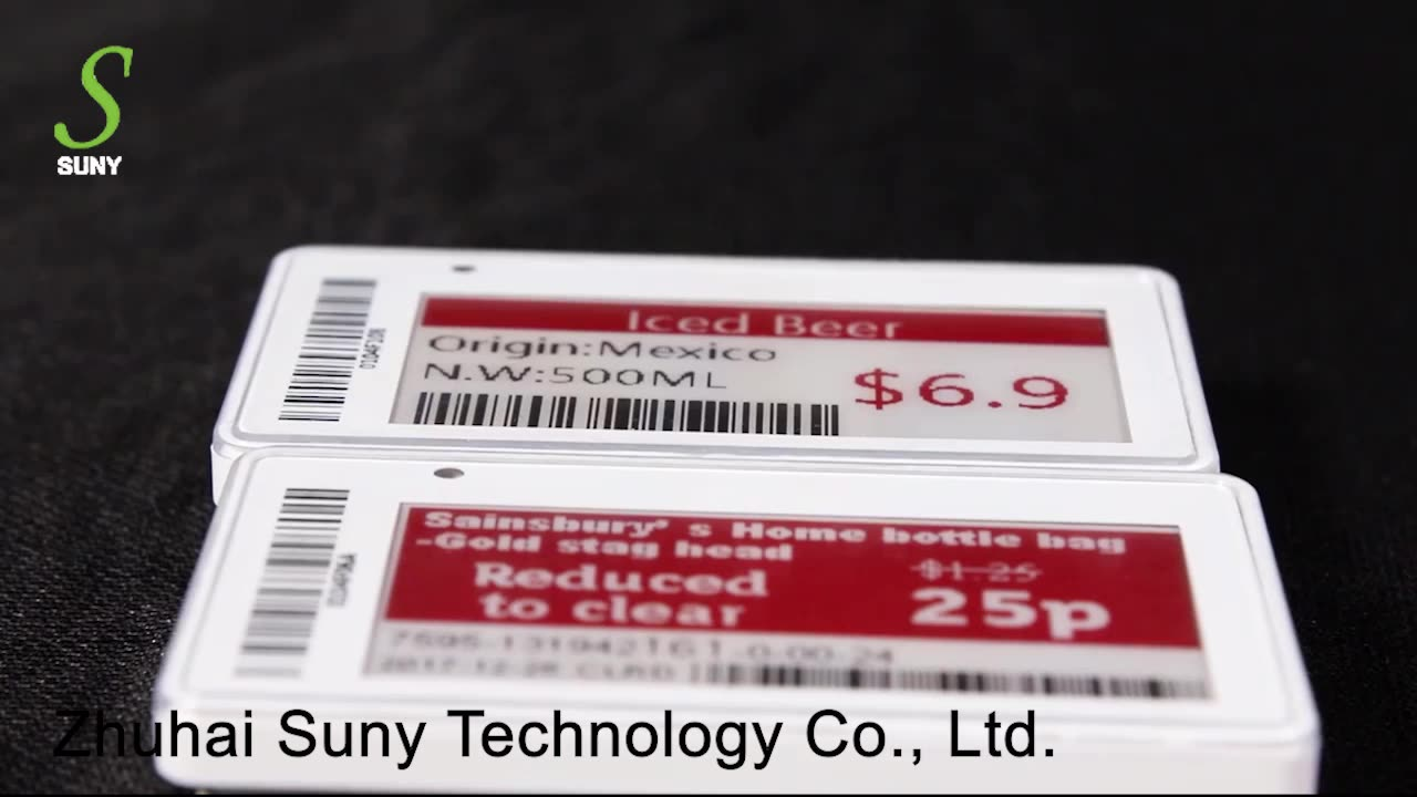 SUNY Supermarket 1.54 inch Color E-ink E-Paper Electronic Shelf Labels WIth LED Light