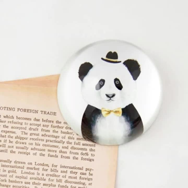 Wholesale Glass Paperweight  Color Printed Animal Panda Semicircle Crystal Glass Dome Paperweight