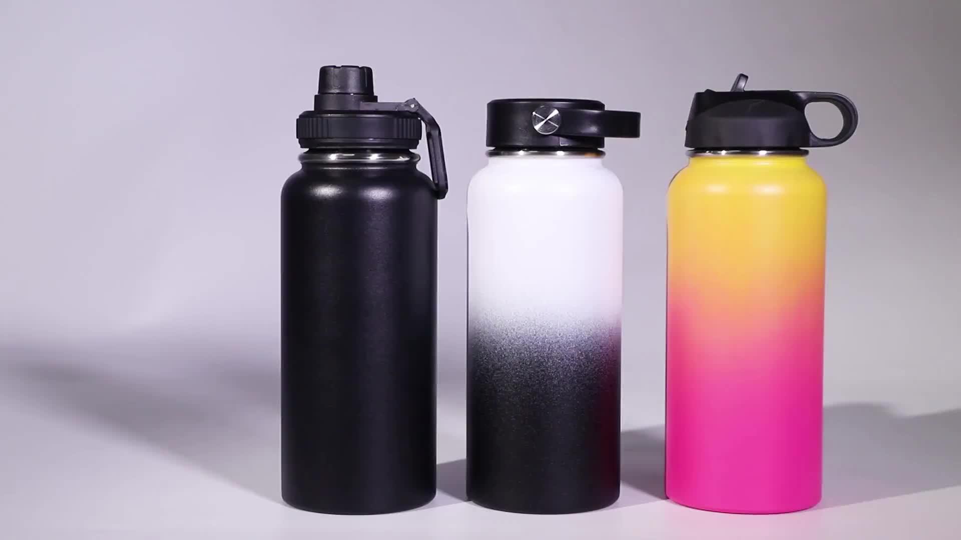 Large bouche verre bouteilles de sport Isolé Sous Vide À Double Paroi En Acier Inoxydable Bouteille D'eau avec logo personnalisé couvercle SANS BPA