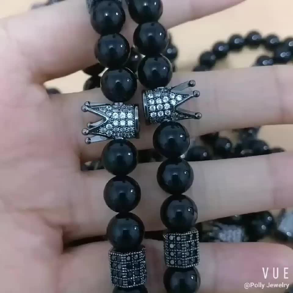2019 Natural Polished Black Onyx Beads Cubic Zirconia CZ Paved King Crown Charms Stretchable Bracelet