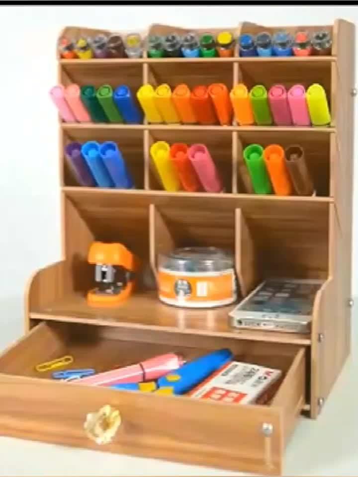 Organizador de escritorio de madera para el hogar y la Oficina, caja de soporte para bolígrafos, papelería de escritorio con soporte para teléfono