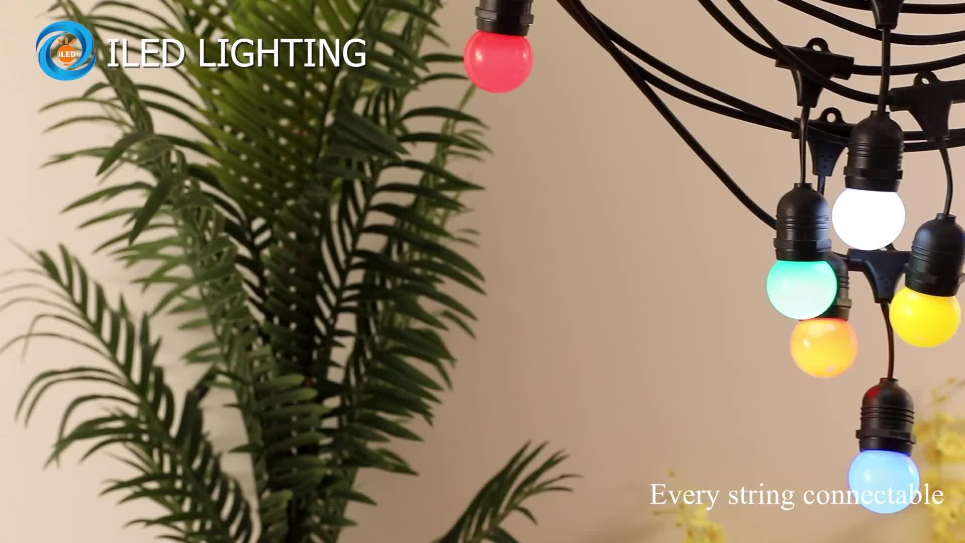 תליית S14 בציר אדיסון נורות 48ft מסחרי גן חג המולד המפלגה פאטיו אור עמיד למים IP65 Led חיצוני מחרוזת אורות