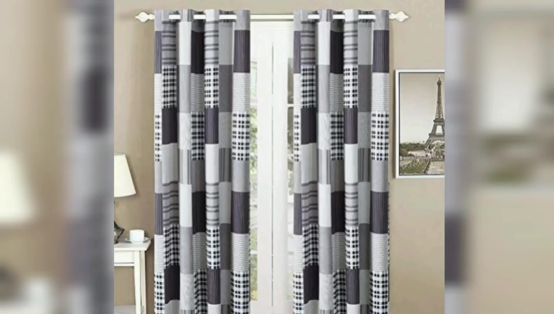 豪華なプリントカーテン生地の寝室の窓