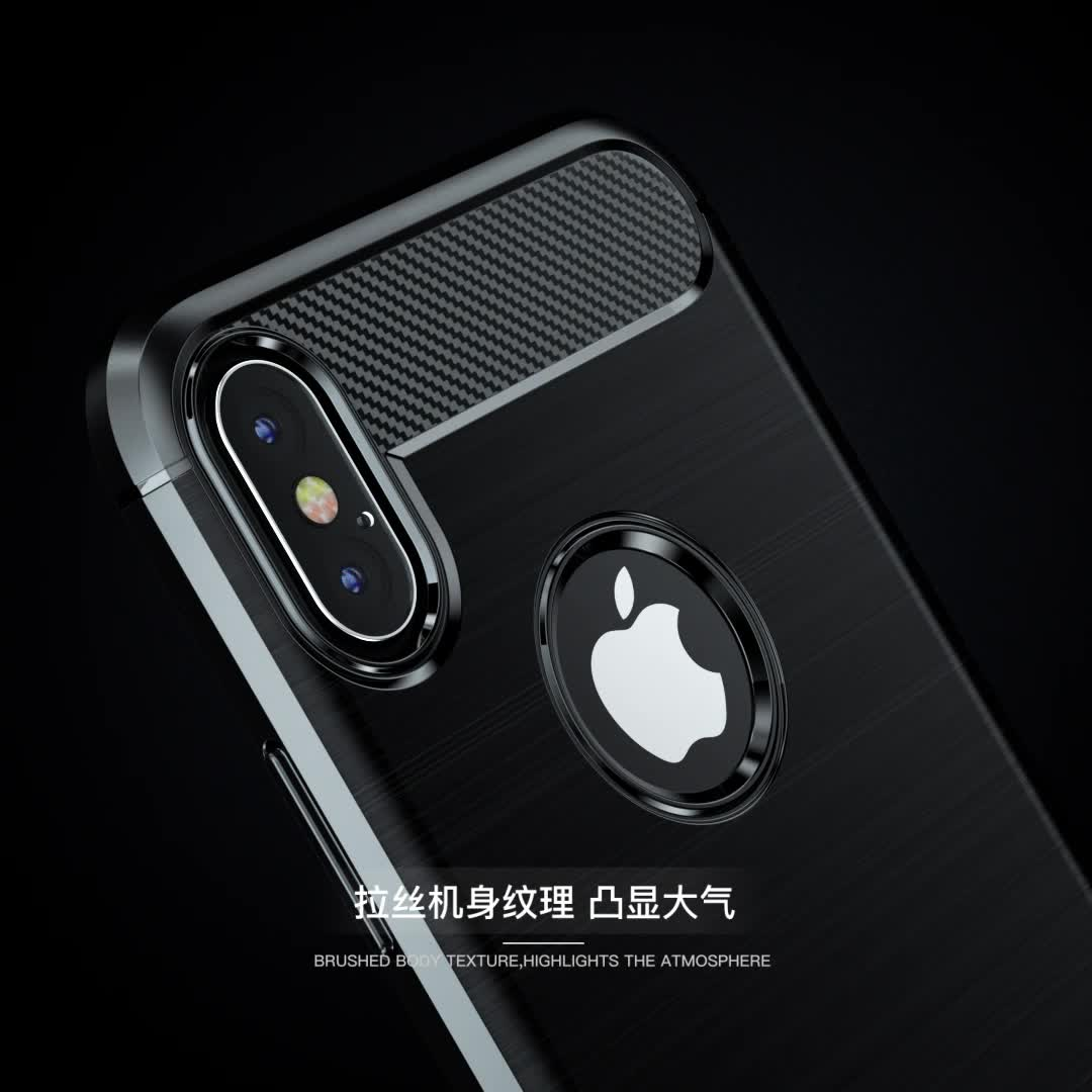 Carbon Fiber Tpu Silicone Back Cover Phone Case For iPhone X / XS