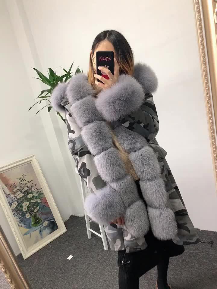 Korean style unisex camouflage fur parka trim hooded parka coat fox fur parka