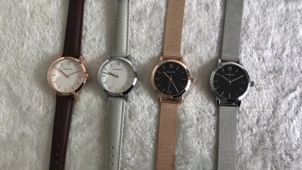 Cheap Alloy Material Case Leather Strap Couple Wristwatch