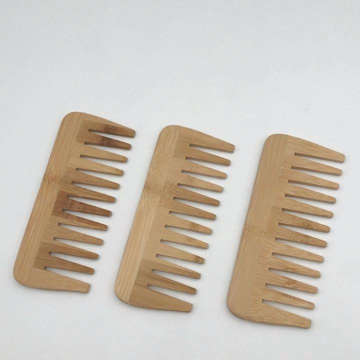 Peigne pour cheveux et barbe en bois de bambou naturel, peigne sans statique, de haute qualité