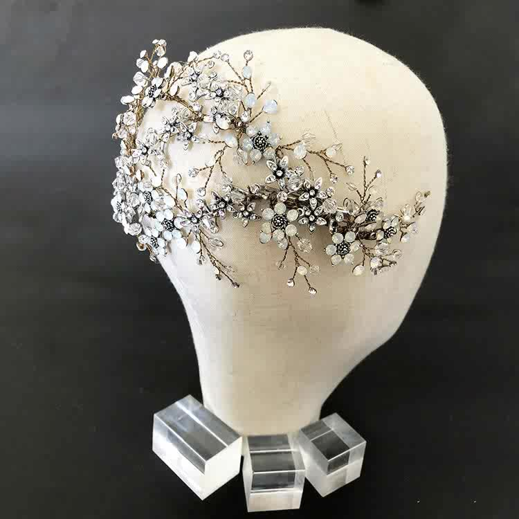 Deluxe crystal bridal hair clips handmade barrettes antique wedding hair accessories sterling silver jewelry bandanas headwear