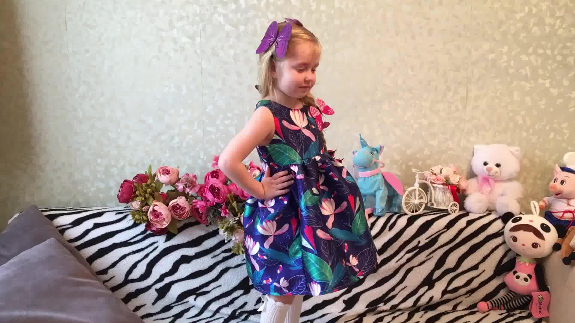 Kseniya เด็ก Lotus พิมพ์ชุดเจ้าหญิงสาวฤดูร้อนสาวแขนกุดชุดลำลอง Plus ขนาด