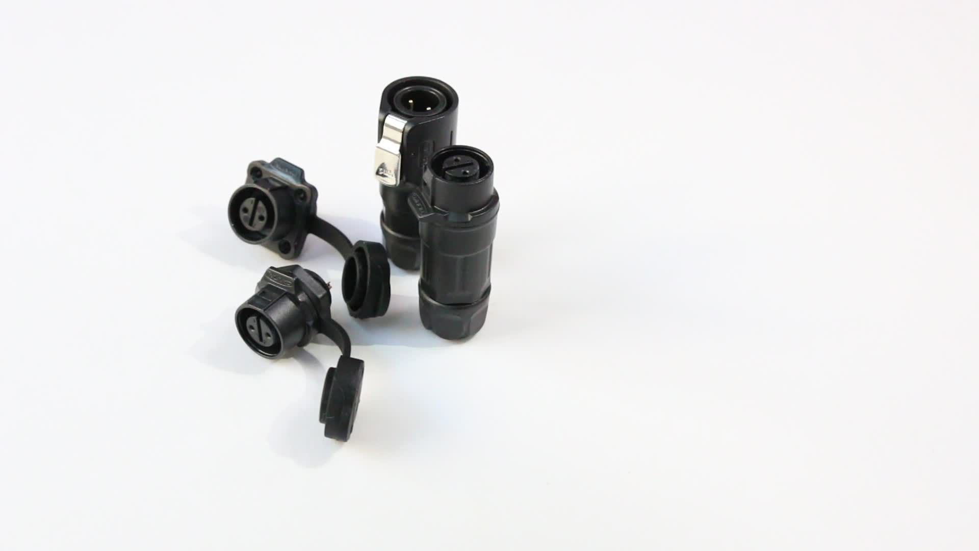 PBT Plastic Raw Material Circular Shape Black M12 2pin to RS232 Flange Cable Connector