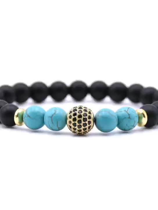 RTS Handmade Jewelry Natural Stone Jewelry Bracelet Set for Men ,Howlite and Alloy with Zircon Crown Men Bracelet