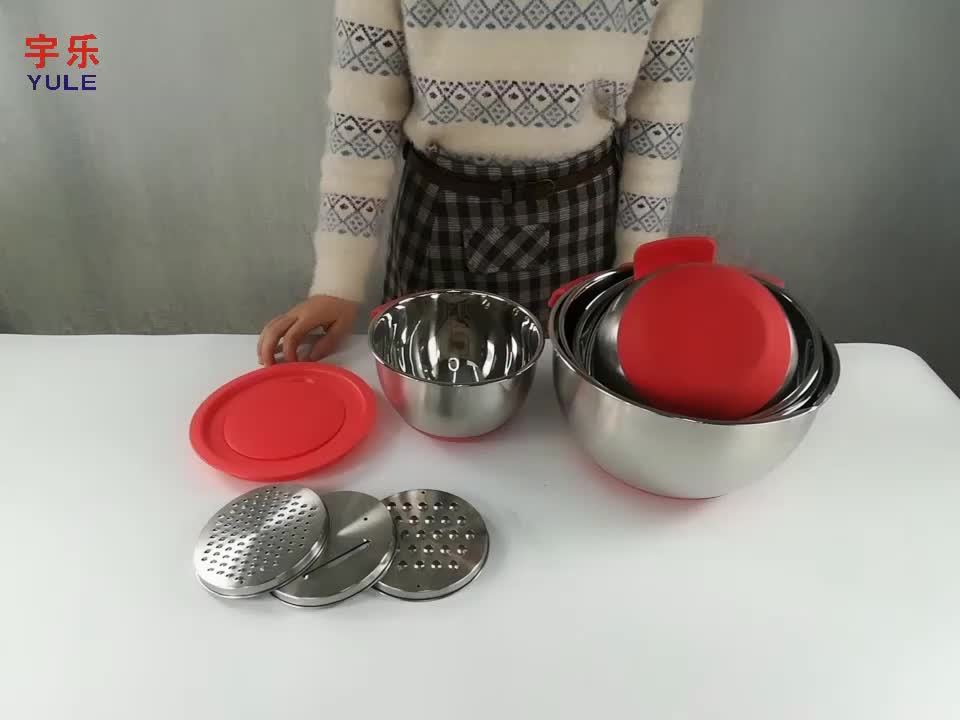 kitchen baking with short handle non-slip mixing bowls with pour spout for kitchen use