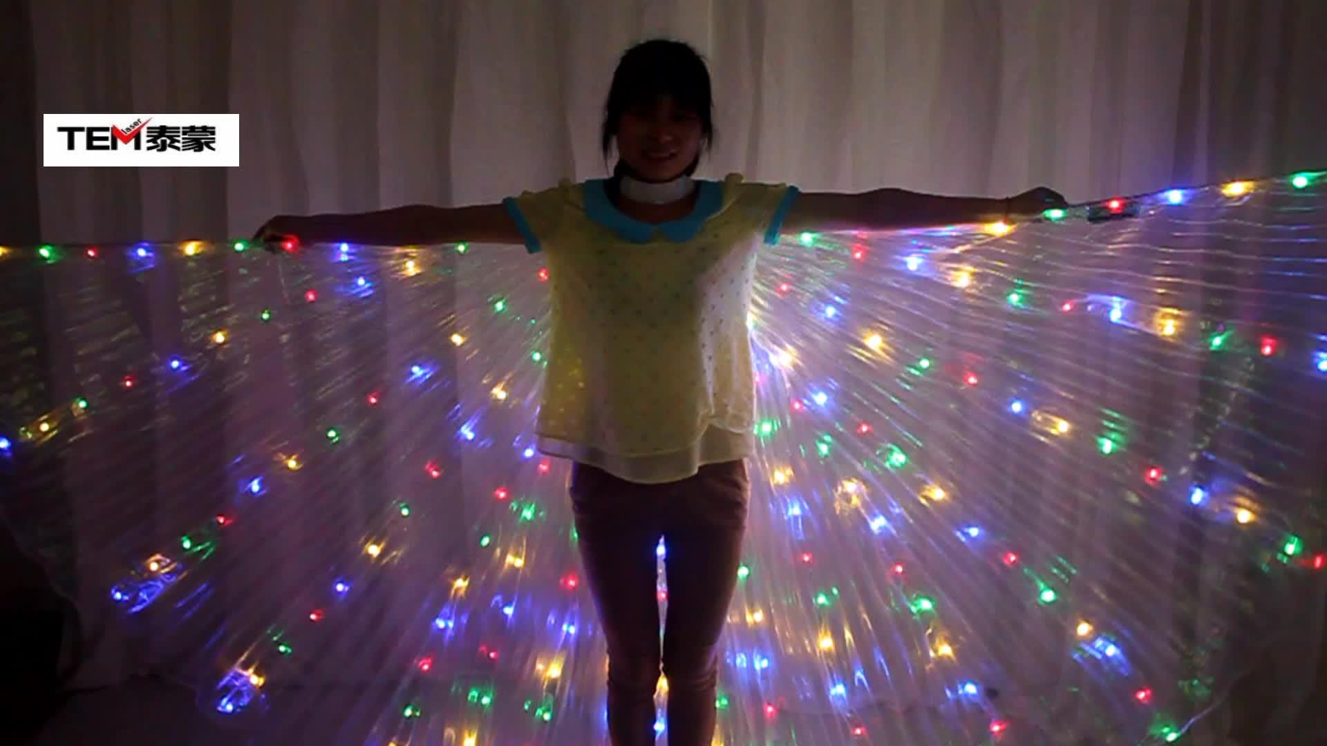 Ledベリーbancing lsis翼dj翼女の子ダンス衣装ライトアップ翼セットダンスアクセサリーハロウィン