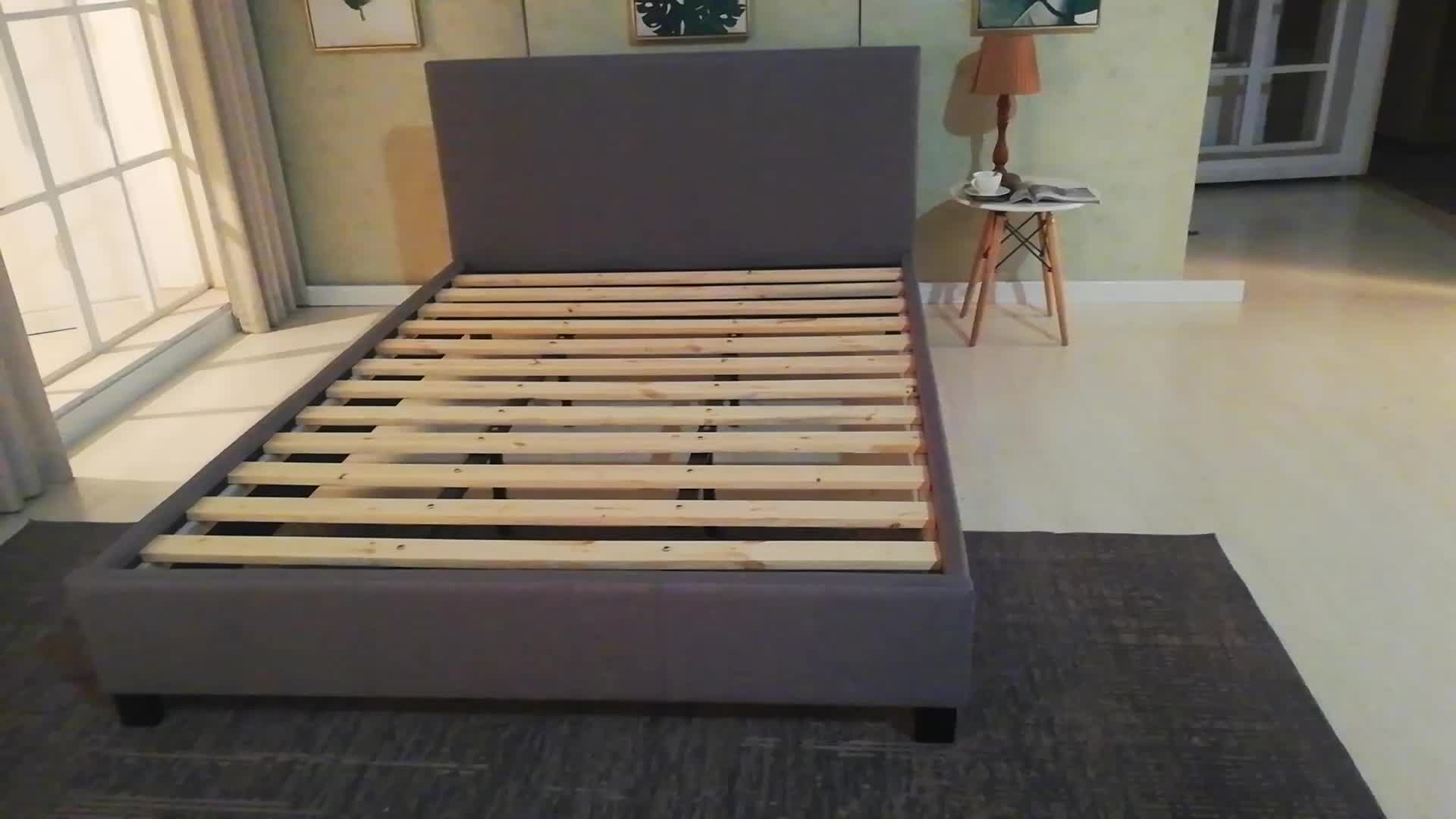 Komfortable elegante grau tufted punkte form kopfteil plattform durable gas lift lagerung stoff bett rahmen für schlafzimmer möbel