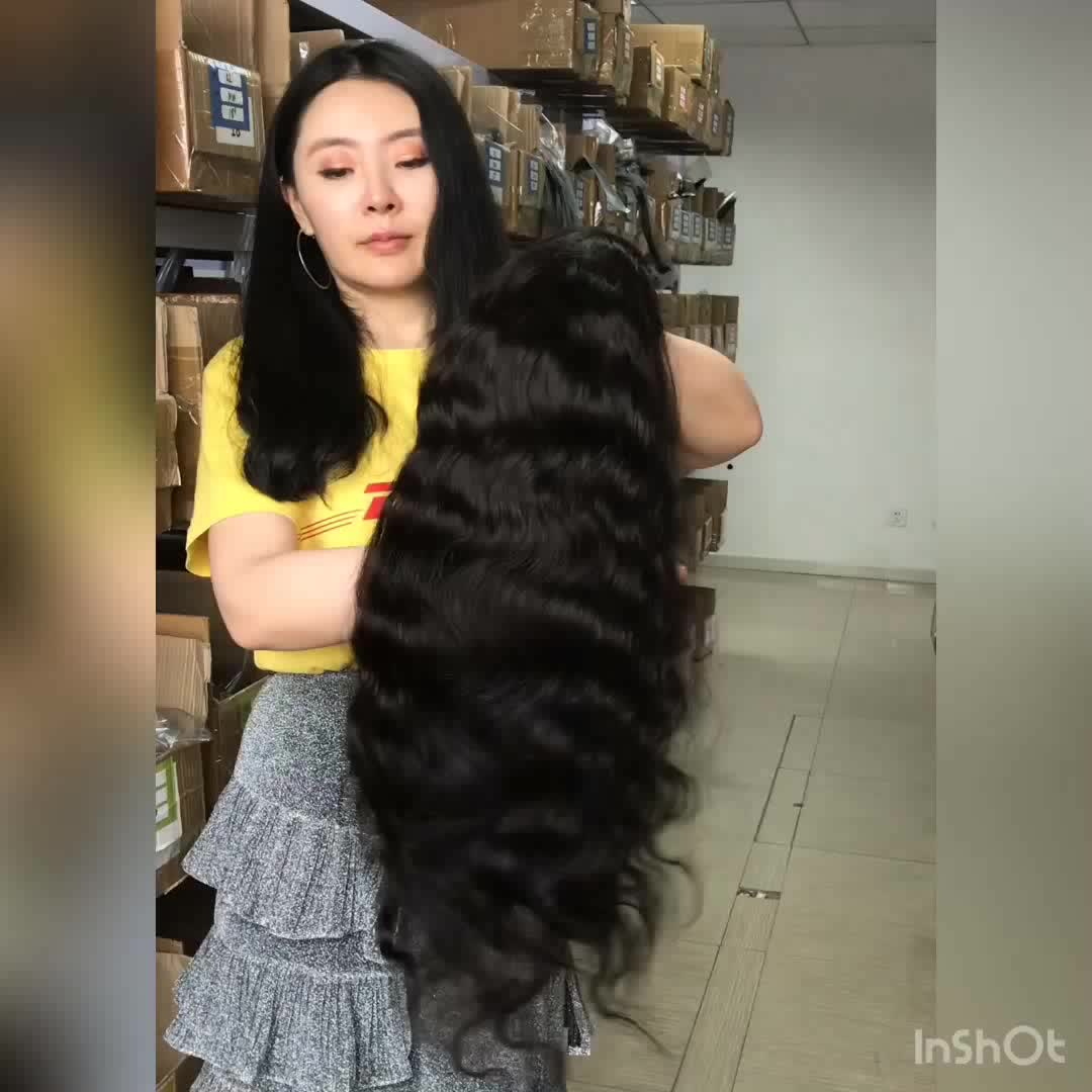 Wholesale 9A grade unprocessed natural human hair wig lace front for black woman