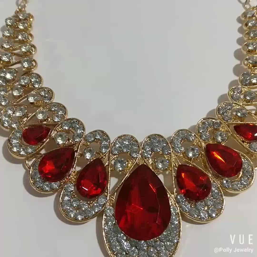 Temperament Fashion Metal Multi Color Flash Waterdrop Diamond Gemstone Necklace Earring Set For Women