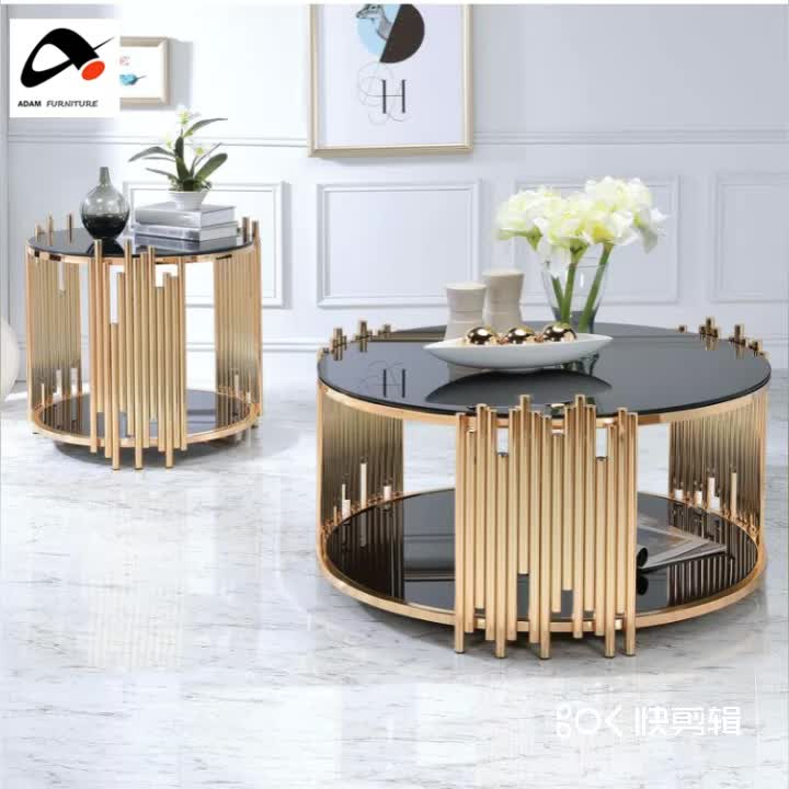 Modern Design Stainless Steel Living Room Furniture Luxury Black Glass Top Gold Round Coffee Table Buy Stainless Steel Coffee Table Round Coffee Table Luxury Black Glass Gold Coffee Table Product On Alibaba Com