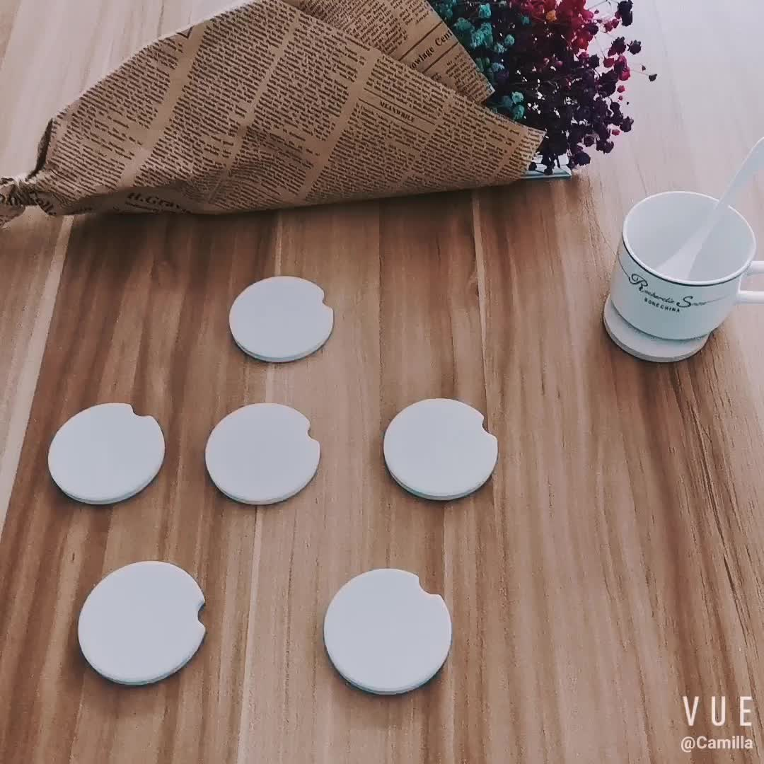 2019 wholesale sublimation Water absorbent marble cup cork blank ceramic car coaster