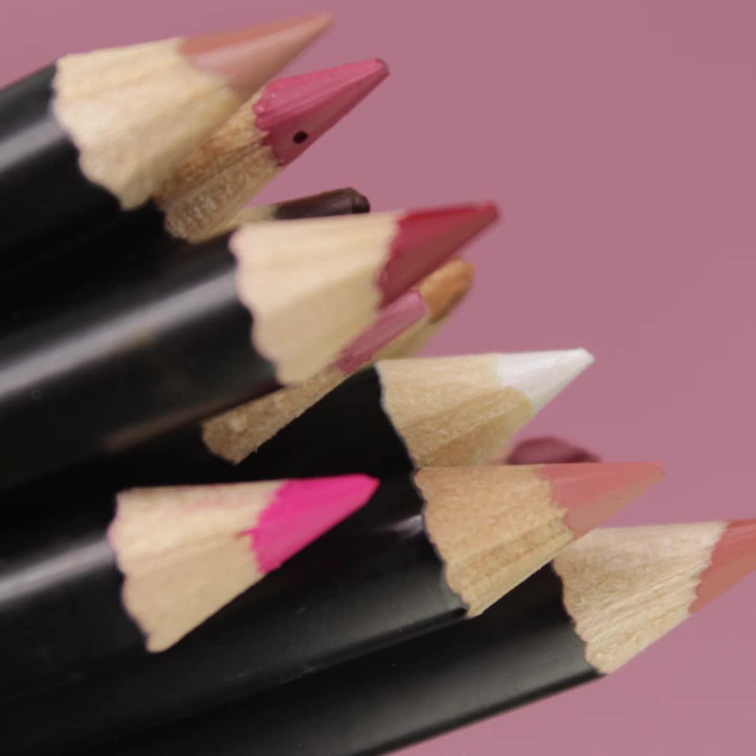 Merek Anda Sendiri Makeup Lipstick Lipliner Eyeliner Private Label Vegan Lipliner Pensil