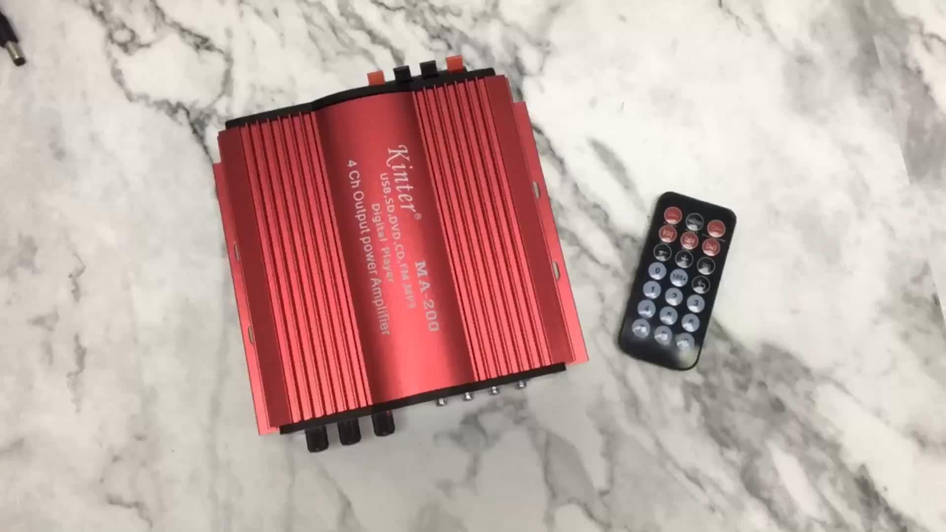 Kinter MA-200 4 channel hifi power amplifier 12v car amplifiers audio