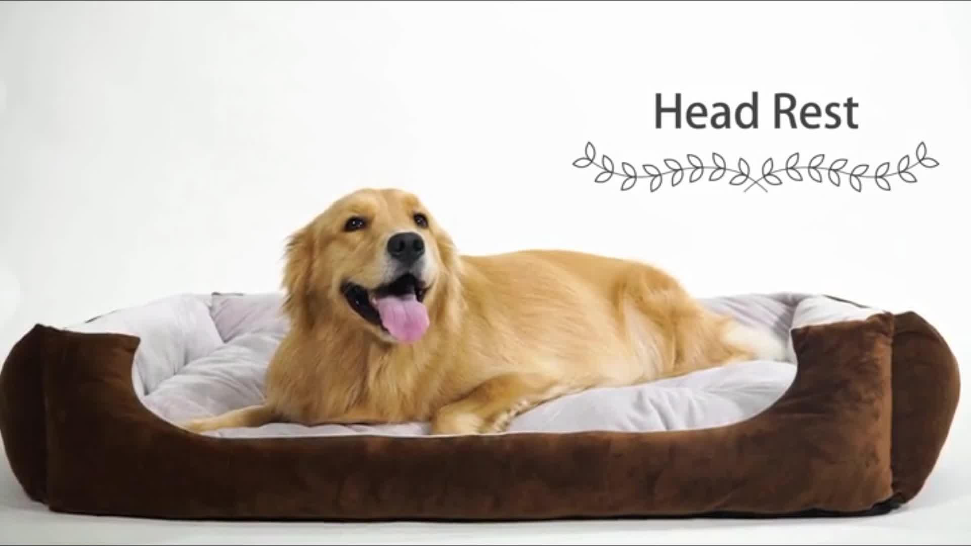 Luxe Zachte Katoen vouwen huisdier slaapbank wasbaar Verhoogde hond katten bed met Verwijderbare Mat Water Slip Bodem