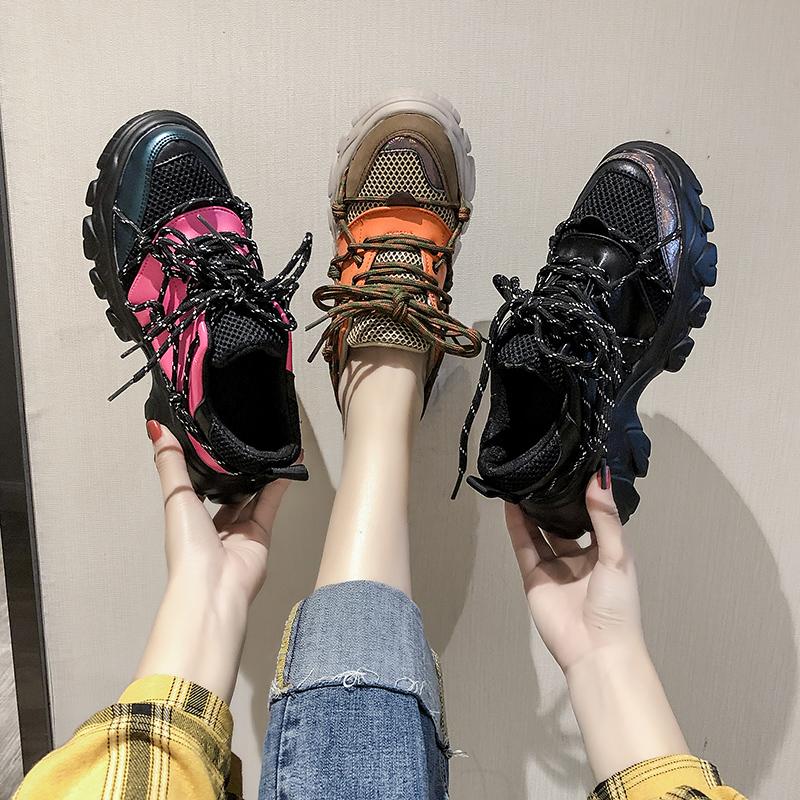 Старый отец обувной женщина ins волна 2019 осень обувной новый чистый красный превышать пожар мелочь толстая корка обувь женская зима дикий спортивной обуви сын 605467019411