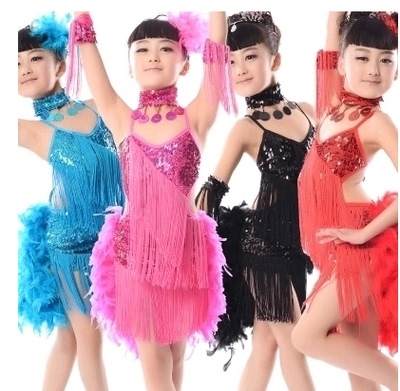 Girls Latin Dance Dresses Children's feather Latin skirt performance clothes girls' sequins fringe Latin dance competition performance clothes