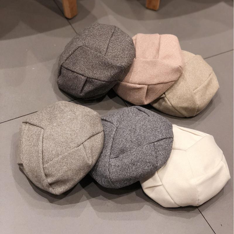 贝雷帽子女秋冬季韩版潮日系毛呢英伦八角帽复古南瓜蓓蕾帽画家帽
