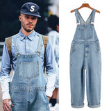 Cowboy strap pants male straight trend dressing pants BF loose connected someware pants tide brand Japanese sling labor pants