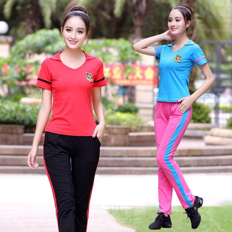 衣服舞短裙新款舞蹈夏季女跳舞套装现代服装服运动健身广场比赛服