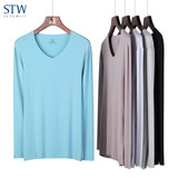 STW men's autumn clothing bottoming shirt Mostless no trace thermal underwear single piece shirt loose V-neck long sleeve T-shirt