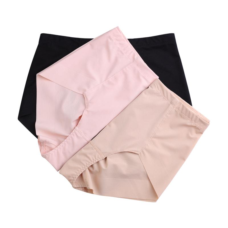 STW纯棉平角无痕收腹提臀中高腰面料裤内裤质女士底裆三角裤大码