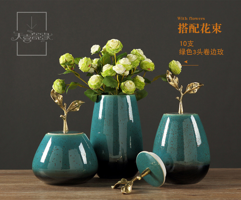 New Chinese style ceramic vase light flower arranging American key-2 luxury furnishing articles sitting room TV ark, crafts creative home decorations