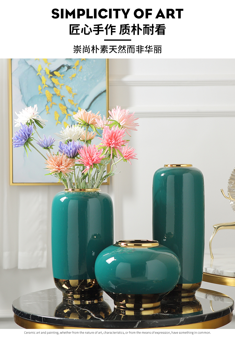 Light European - style key-2 luxury furnishing articles ceramic vase sitting room simulation flower flower arranging modern TV cabinet table decoration household act the role ofing is tasted