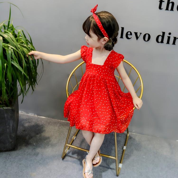女孩连衣裙夏季网红洋气二小裙子三岁四五女童波点宝宝裙雪纺儿童