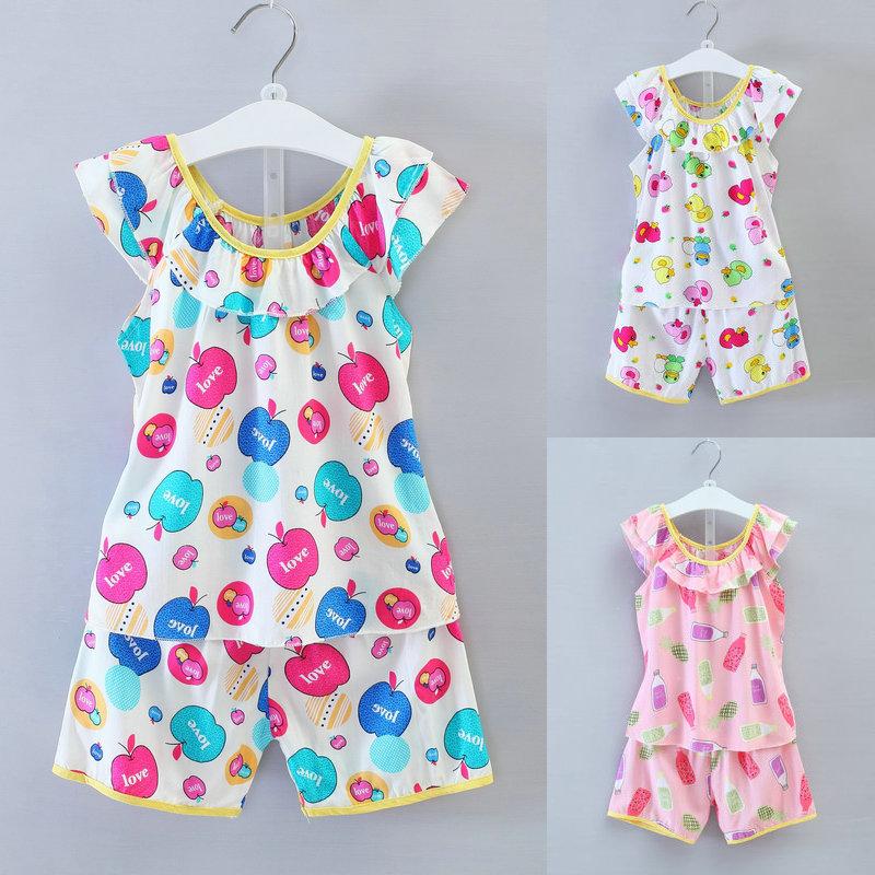 夏季儿童棉绸套装短袖无袖背心男女宝宝绵绸空调衫居家服薄款睡衣