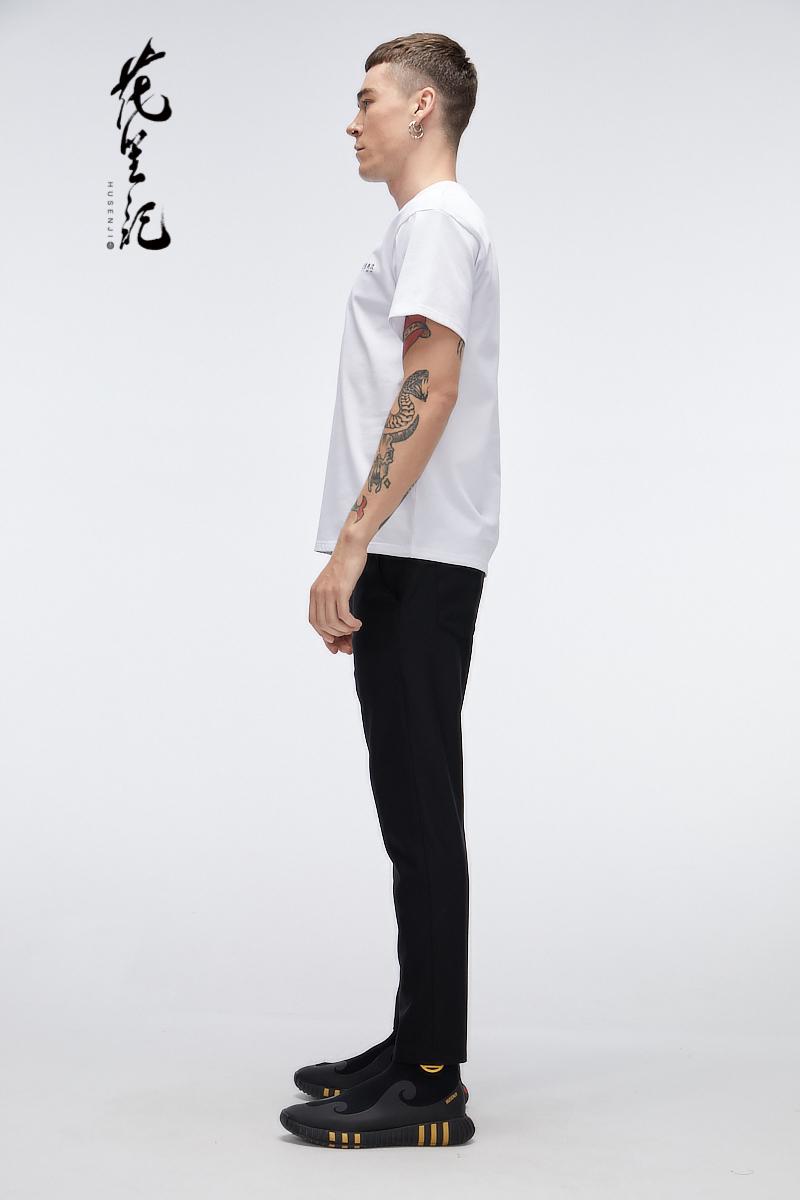 Hoa 笙 phong cách Trung Quốc ánh sáng thủy triều sang trọng thương hiệu 壹 Lu Hao in ngắn tay màu đen và trắng cổ tròn vài T-Shirt mùa hè nam quần áo áo cộc tay
