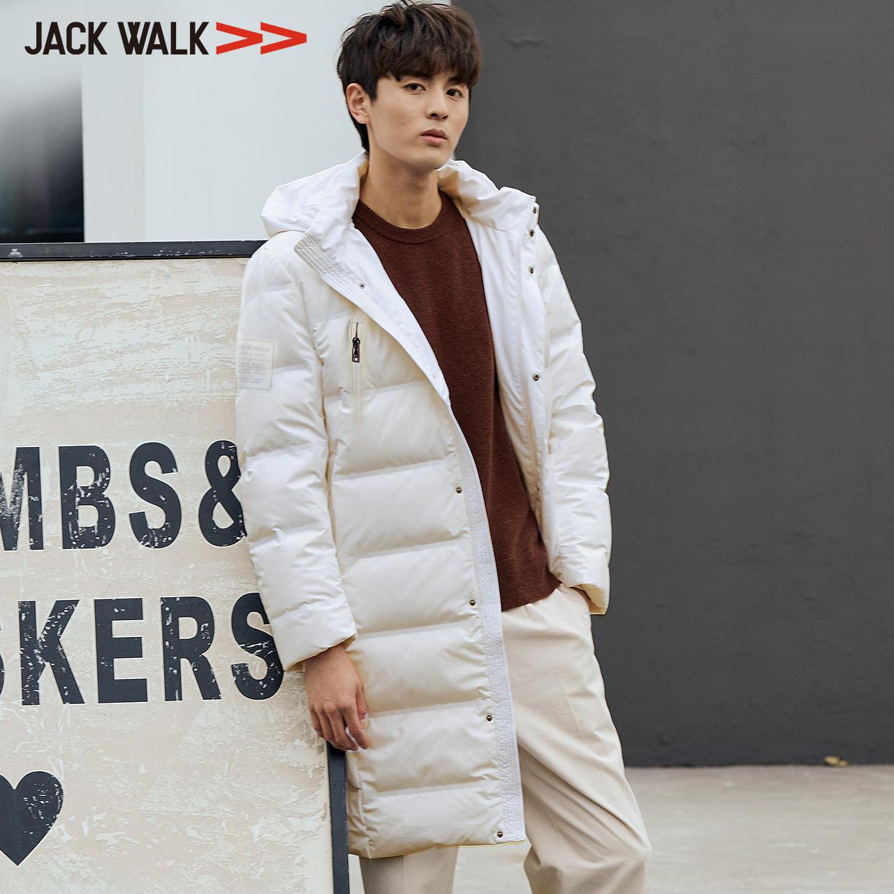 拉夏贝尔旗下 Jack Walk 18年冬季新款 男式中长款连帽羽绒服 天猫优惠券折后¥499包邮(¥899-400)2色可选