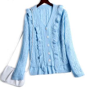 寬鬆日系毛衣女秋冬針織開衫