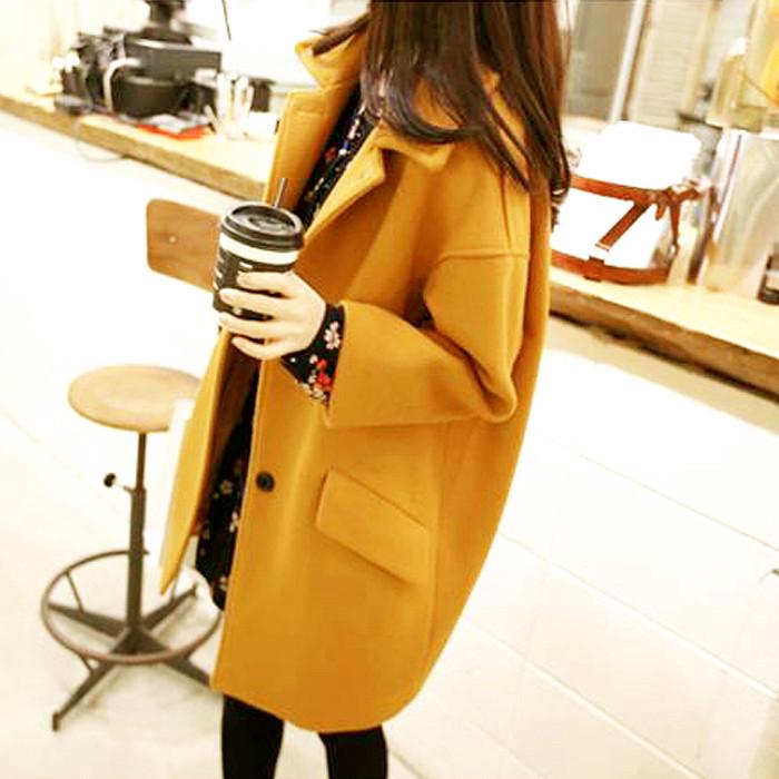 2018秋冬季新款韩版女装毛呢外套女修身显瘦大码中长款呢子大衣潮
