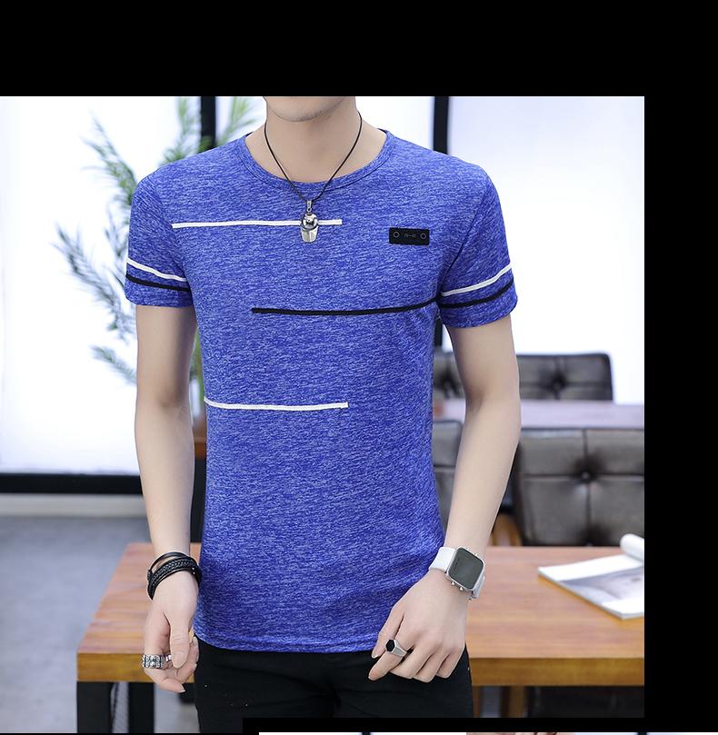 2018 người đàn ông mới của băng lụa ngắn tay T-Shirt nam vòng cổ phần mỏng thanh niên mùa hè Hàn Quốc Slim nửa tay áo sơ mi