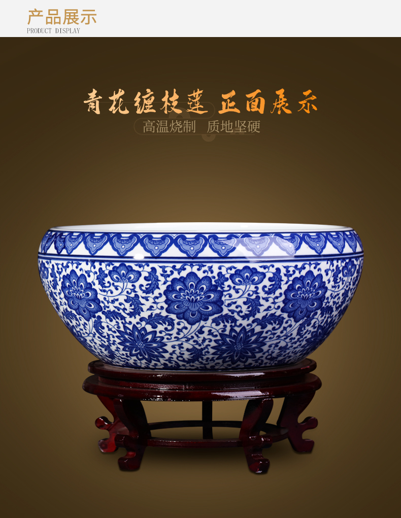 Blue and white porcelain of jingdezhen ceramics flowerpots furnishing articles large shallow goldfish bowl Chinese style household tortoise cylinder accessories