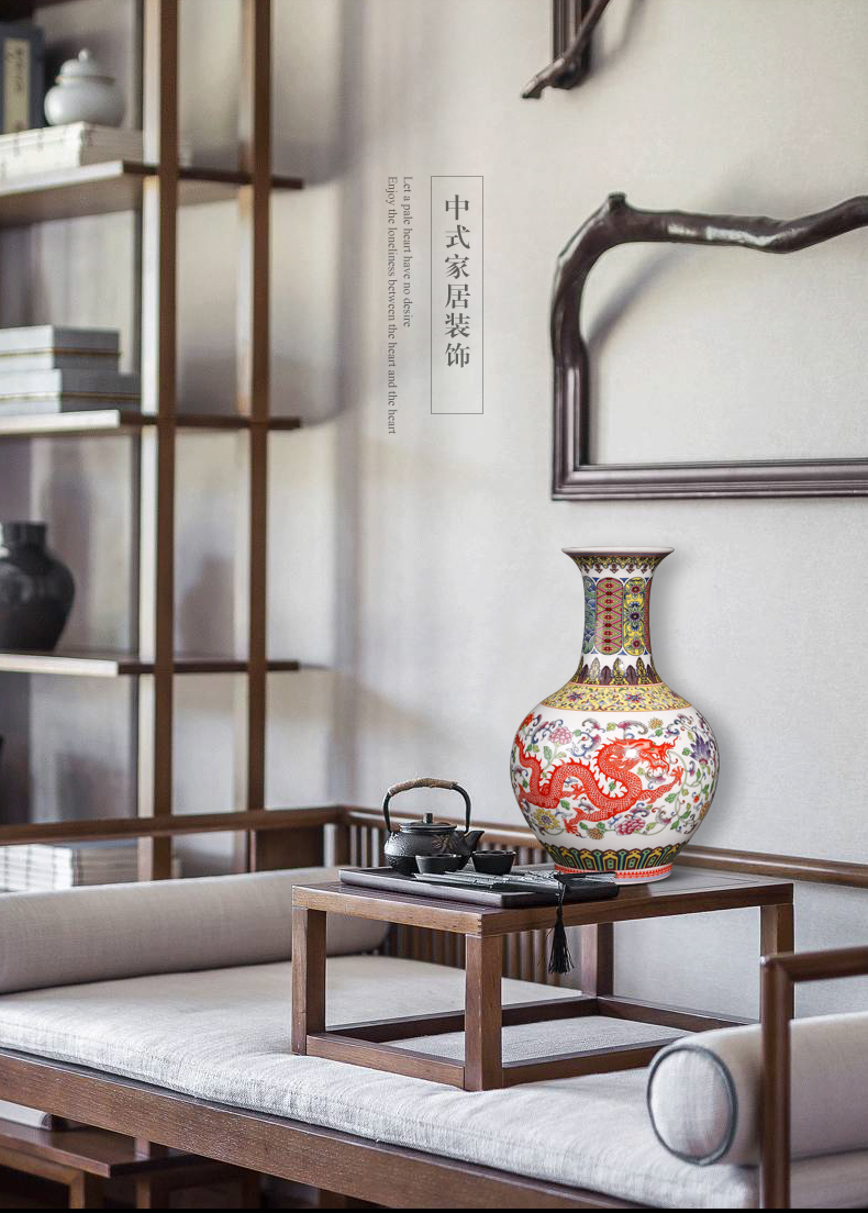 Jingdezhen ceramics antique vase furnishing articles of Chinese style living room home rich ancient frame enamel handicraft ornament